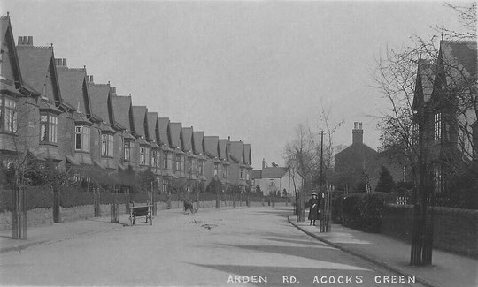 Arden Road looking to Flint Green Road, c. 1905. Church House has not yet been built, and the original numbers 110-6 can be seen. (Birmingham Libraries)