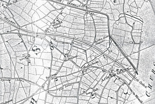 Extract from Blood's map of 1857, showing how rural Acocks Green was at that time