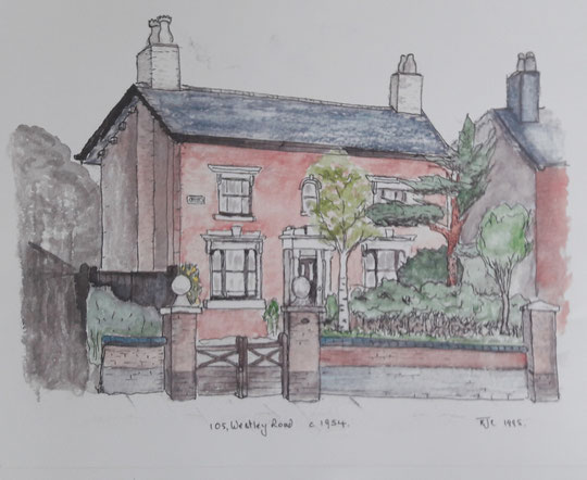 105 Westley Road c. 1954, by Rod Cherry. Thanks to Mrs Cherry; the painting is copyright