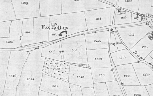 Fox Hollies Road Tithe map extract, 1843, Fox Green to the Ninestiles path. North is to the right on this map. (Birmingham Libraries)