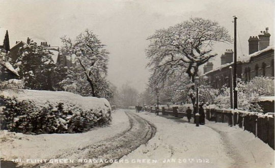 Flint Green Road in snow, 20 January 1912