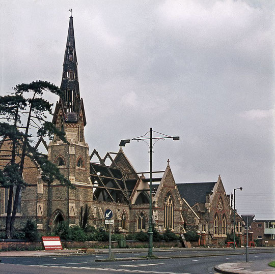 The church being demolished, c.1973 (Geoff Dowling, used with permission)