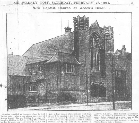 Opening of the Baptist church, 28 February 1914 (thanks to Peter White)