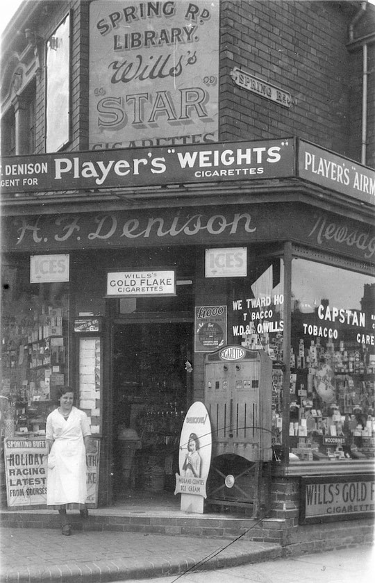 Denisons at the corner of Spring Road. They were on Shaftmoor Lane from 1908 until 1948 , but they started at number 6 until 1911, with a draper's initially operating from number 2 (thanks to Lisa Denison)