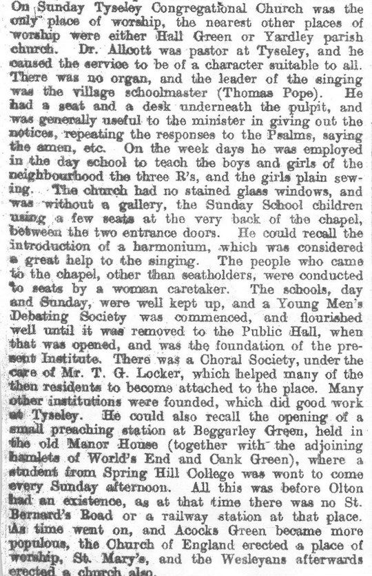 A description of the early years of the church, Birmingham News October 1905. Thanks to Peter White