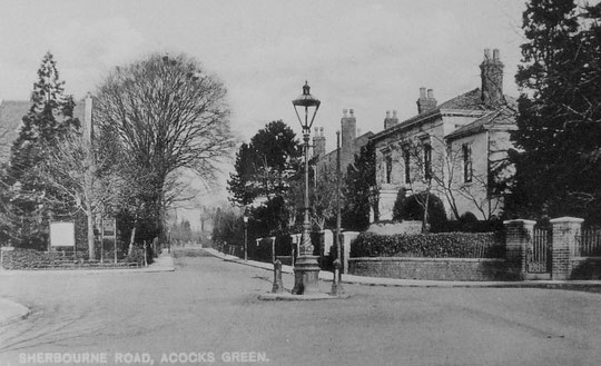 Sherbourne Road, c. 1905, showing the Public Hall and number 36, with 32 and 30 beyond.