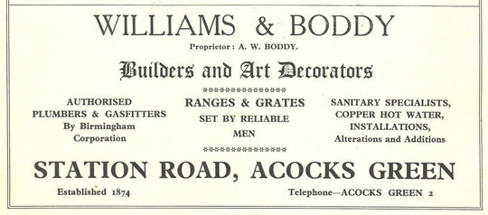 Advert for Williams and Boddy, 1930s