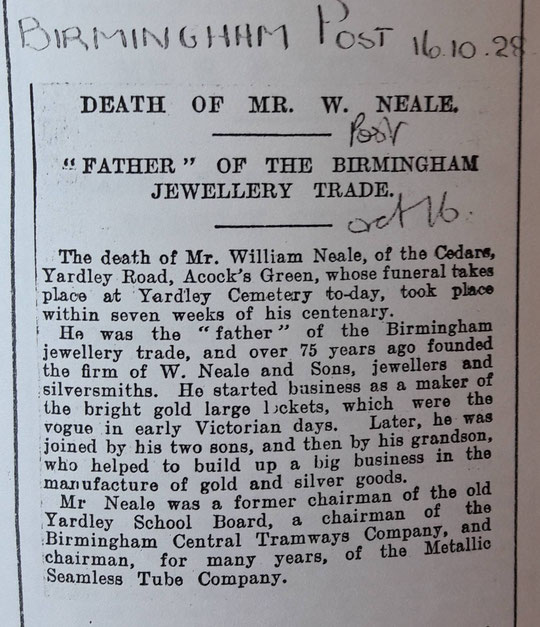 Obituary of William Neale (Birmingham Libraries)