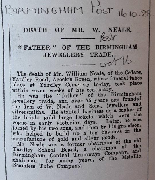 Obituary of William Neale (Birmingham Libraries)