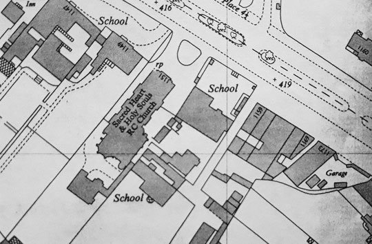 O.S. map extract, 1953. The 1938 row West End Stores is shown here, together with the garage (Lowe/Stuart). By 1970 the garage was a service station, the yard had gone and the frontage was open. 1173 was at the rear of the site, and was much smaller.