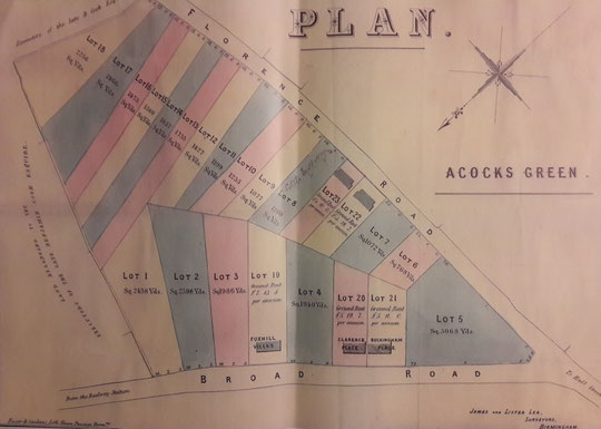 1866 sale catalogue map with Westley Road as Florence Road