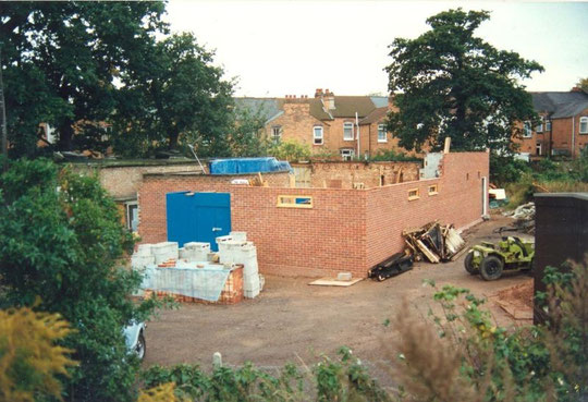 New walls now higher, October 1988. The old snooker room has gone.