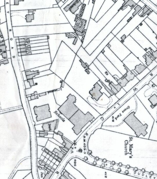 Extract from 25 inch Ordnance Survey map, 1916