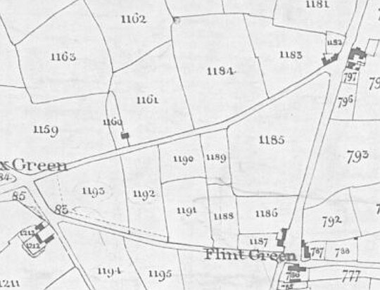 Fox Hollies Road Tithe map extract, 1843, Warwick Road to Fox Green. North is to the right on this map. (Birmingham Libraries)