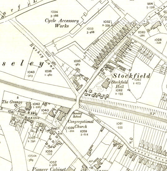 Extract from the 1904 O.S. map. The church extension and new schoolroom can be seen on this map (University of Birmingham)
