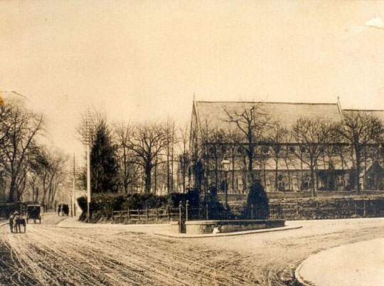 Fenced enclosure at the bottom of Dudley Park Road, c. 1900, where the Acocks Green Fire Station then on the Warwick Road opposite here, kept its wheeled ladder