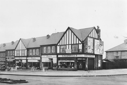 The 1932 shop row east of Dolphin Lane, taken in 1957 (Birmingham Libraries)
