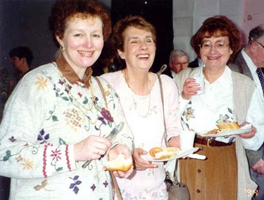 Maggy, Vera and Sylvia at Barbara's leaving do, 18th March 1994