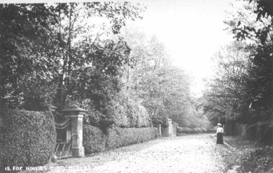 The gates to the Hall on Fox Hollies Road c. 1905