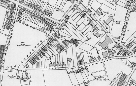 O.S. map extract, 1916. Stone Hall has lost a lot of its grounds, and the school has been built
