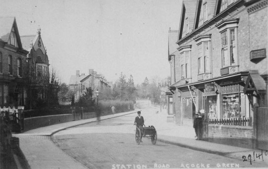 Station Road, c. 1905. The Lilies, number 17, is visible next to the Liberal Club on the left