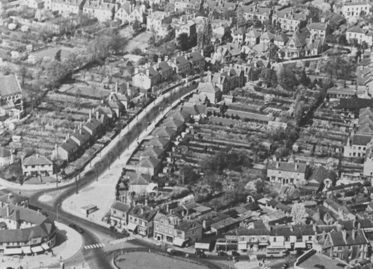 Part of an aerial photo, 1950, showing all the houses before any demolitions took place