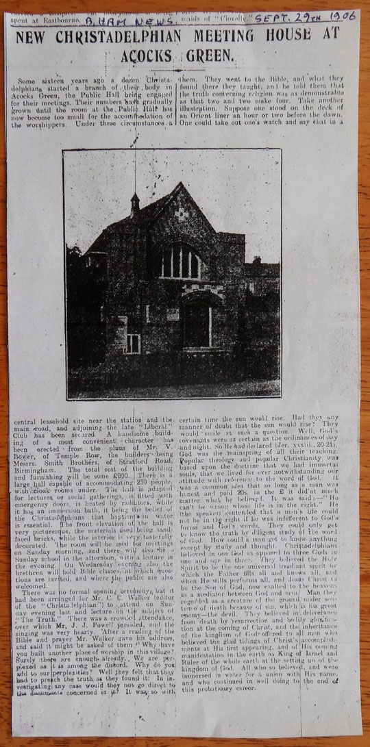 1906 article concerning the opening of the Christadelphian Hall (thanks to Peter White)