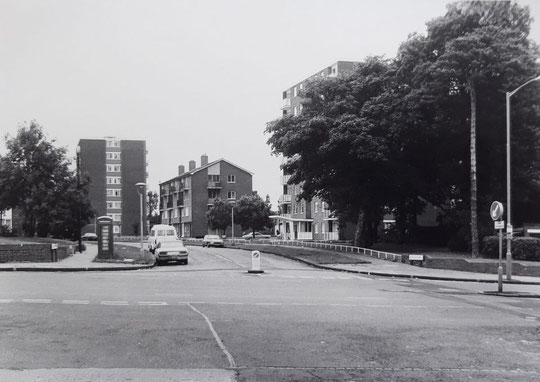 The corner of Woodcock Lane, c. 1980 (Mike Wood). It is now landscaped, thanks to the efforts  of Acocks Green in Bloom