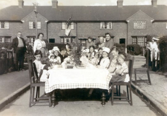 VJ Day celebrations, Dryden Grove (thanks to Les Smith for this postcard)