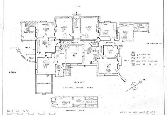 Ground floor plan 1932 (via K. Sprayson)