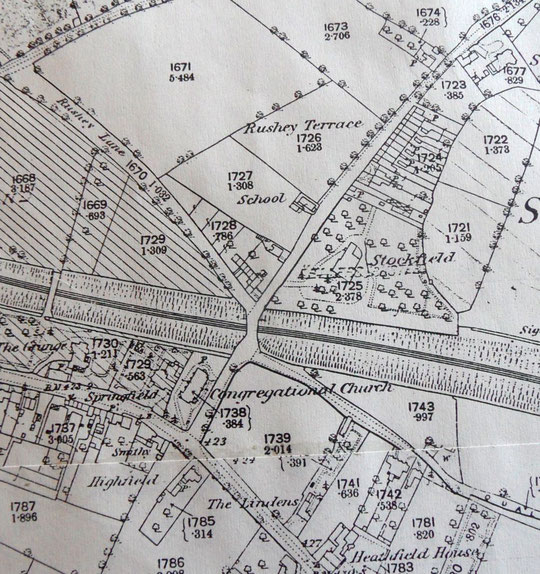 Extract from the 1888 O.S. map. The railway can be seen passing under the junction south of the chapel, now a school.
