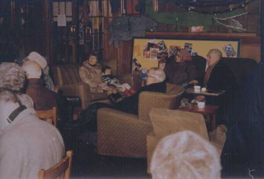 The coffee morning in the Community Room, showing the old furniture