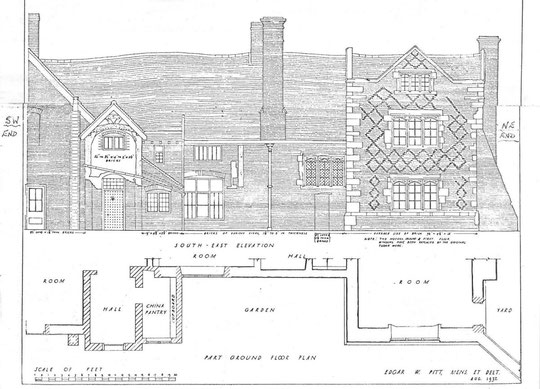 South east elevation, 1932 (via K. Sprayson)