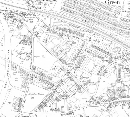 Warwick Road west, O.S. 25 inches to the mile, 1912 (thanks to Birmingham University)