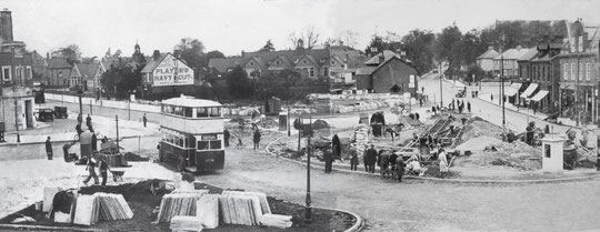 Creating the tram terminus on the enlarged Green, May 1932 (Two Birmingham Libraries photos stitched together)
