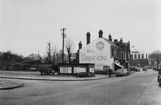 The start of the row in 1953. The low structure at the junction is a public air raid shelter (Birmingham Libraries)