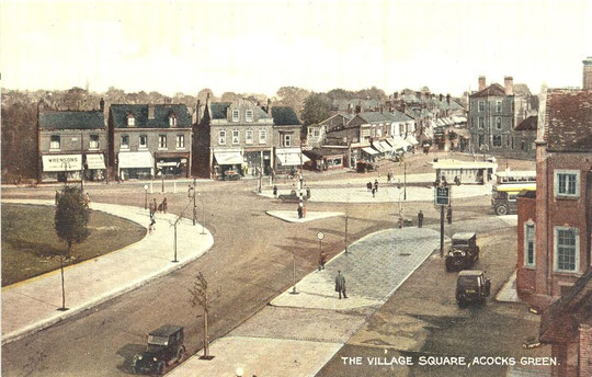 The Green in the 1930s. The low buildings to the right of Wimbush can be seen (thanks to Peter White)