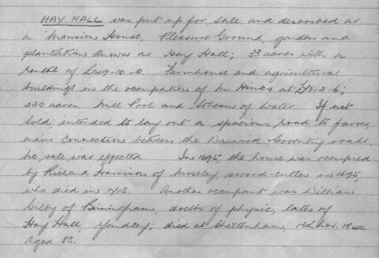Transcription by Miss C.E. Redstone of a note by Canon Cochrane, Vicar of Yardley
