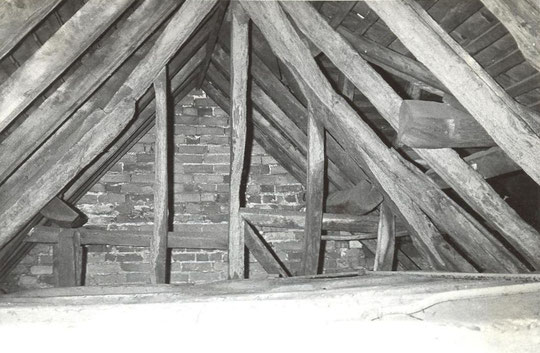 17. Original sloping gable inside south west wing, Georgian frontage