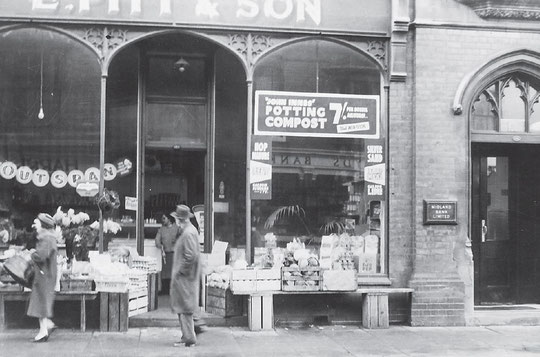 Pitt's grocery shop in the Bank building, c. 1959 (Mary Smith)