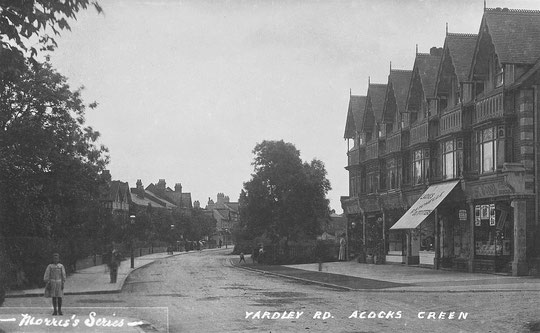 New shops on Yardley Road, before 1913. The Baptist church was built where the trees are on the right in this image