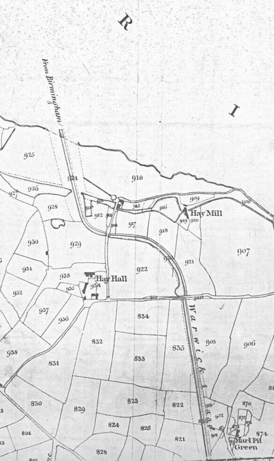Extract from the 1840s Tithe map of Yardley (north is to the right)