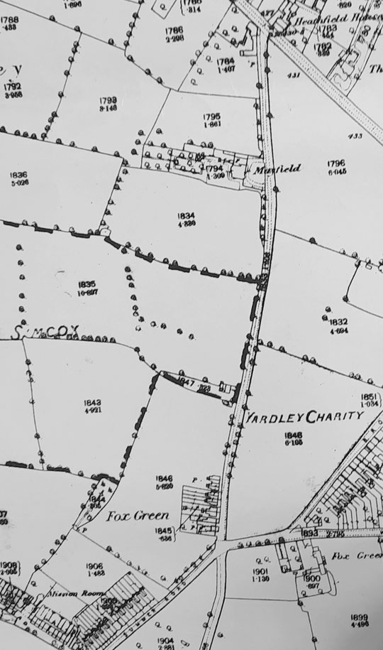 Fox Hollies Road north, O.S. 1888. The smallholding is visible between Mayfield and the terraces. (Birmingham Libraries)