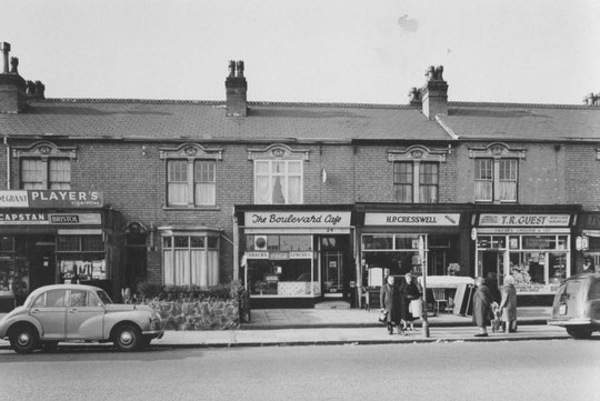 The Boulevard Cafe and nearby businesses, 16 Mar 1962 (Birmingham Libraries)