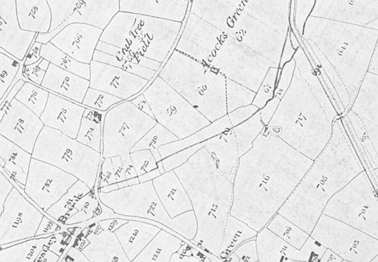 Part of the 1843 Tithe Map, rotated to show North at the top