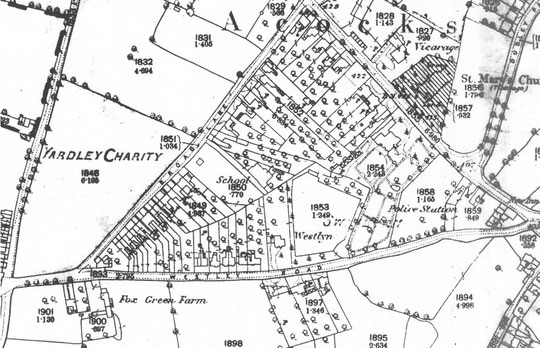 O.S map extract, 1888. Note how extensive the gardens to Stone Hall are. They include a circuit around field 1853. The New Inn, then at the junction of Warwick and Westley Roads, dates from 1858.
