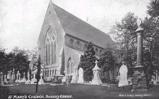 St Mary's in a postcard by George Lewis of Acocks Green, c. 1905