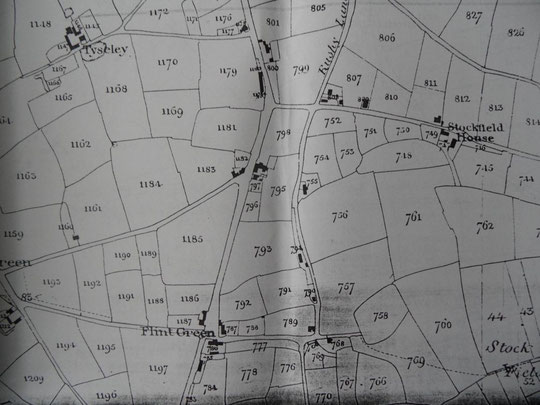 Tithe map extract, map is oriented to west not north (BirminghamLibraries)