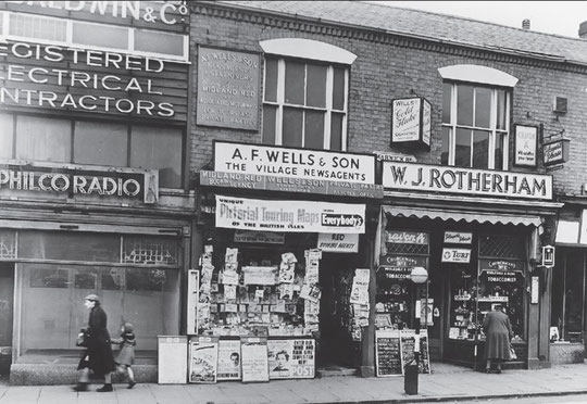 The wooden unit, with part of the former Crescens Smith building, 1955 (Birmingham Libraries)