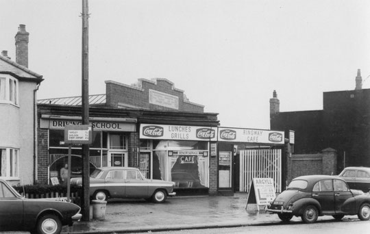 Businesses between number 33 and the bus garage, 17 Jan 1968 (Birmingham Libraries)